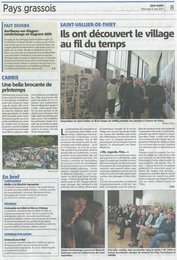 mai 2017 article Nice Matin associaiotn pastorale et patrimoine saint-vallier-de-thiey
