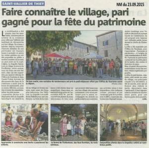 2015 septembre article Nice Matin journee patrimoine Saint Vallier de Thiey Pastorale et Patrimoine